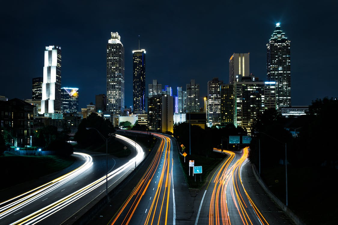 Image of a busy city at night