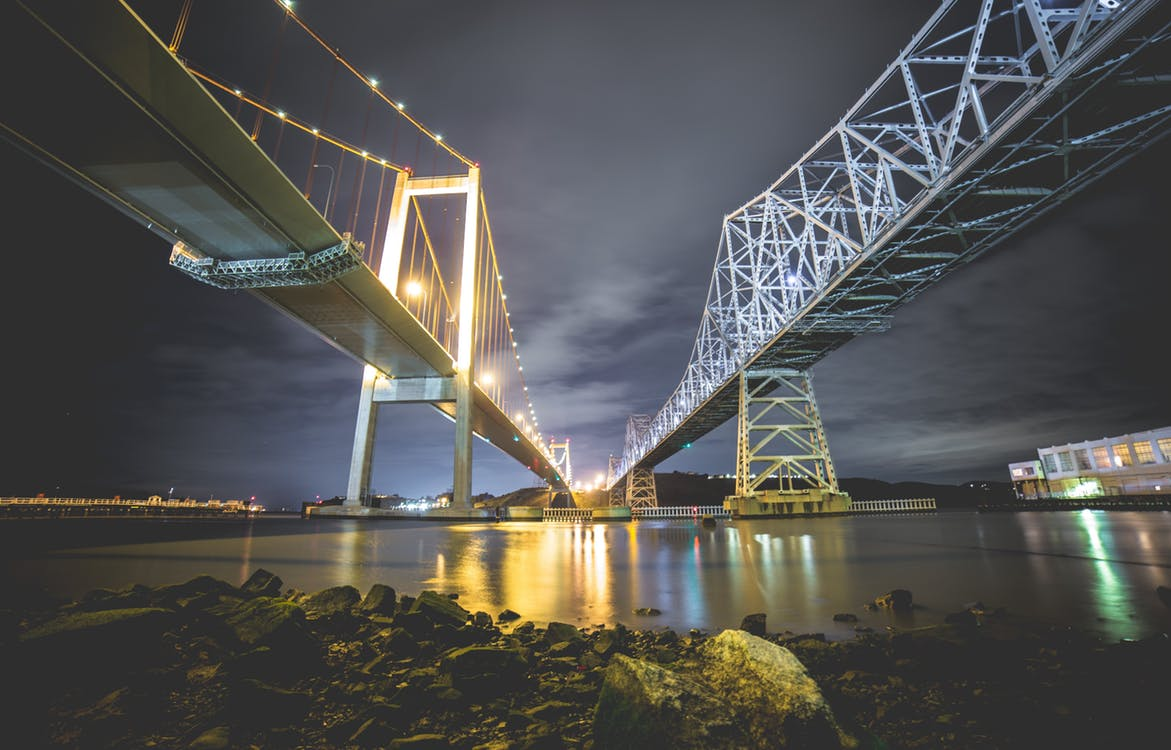 Picture of a lit bridge