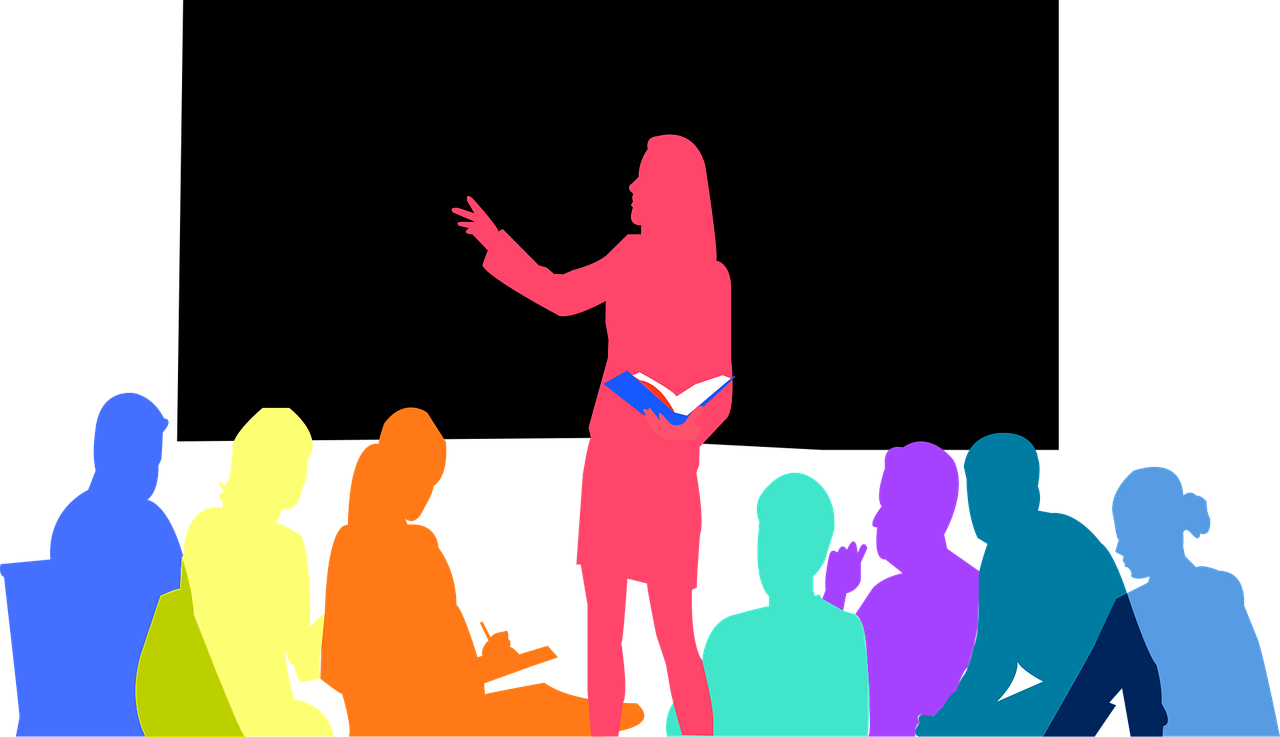 Image is an illustration of a leader speaking in front of a group