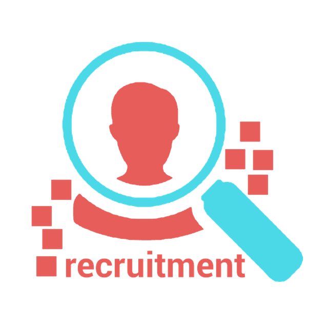A blue magnifying glass over a red silhouetted head.  Various geometric shapes and the word recruitment appear in red below this.